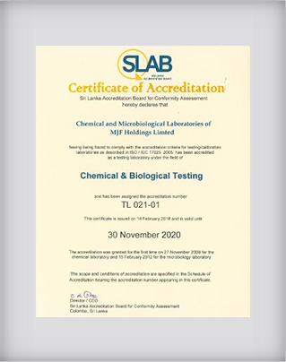 Microbiology and Chemical Laboratory Certificate of Accreditation